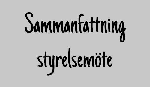 Sammanfattning styrelsemöte 9/1
